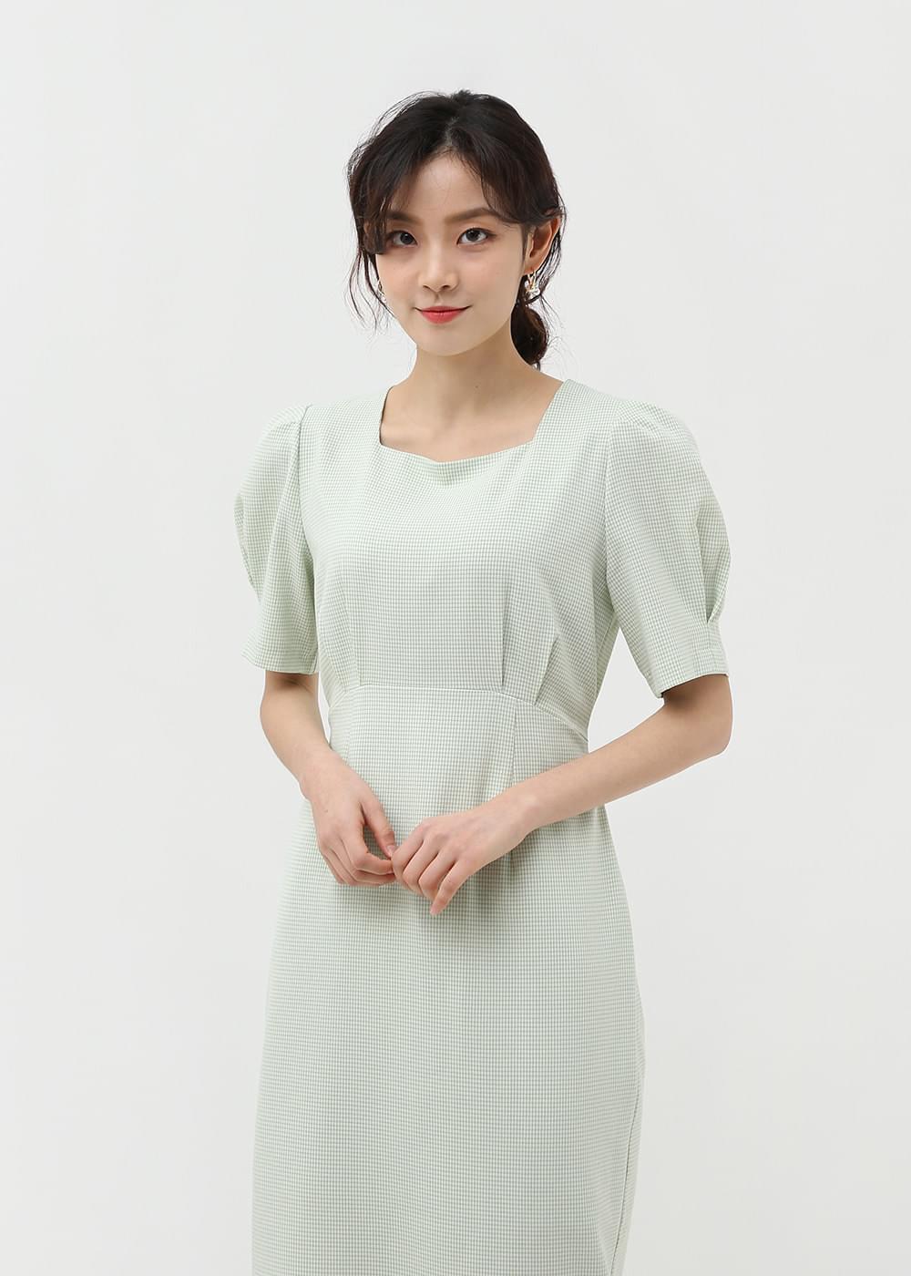 Check Square Neck Long Dress