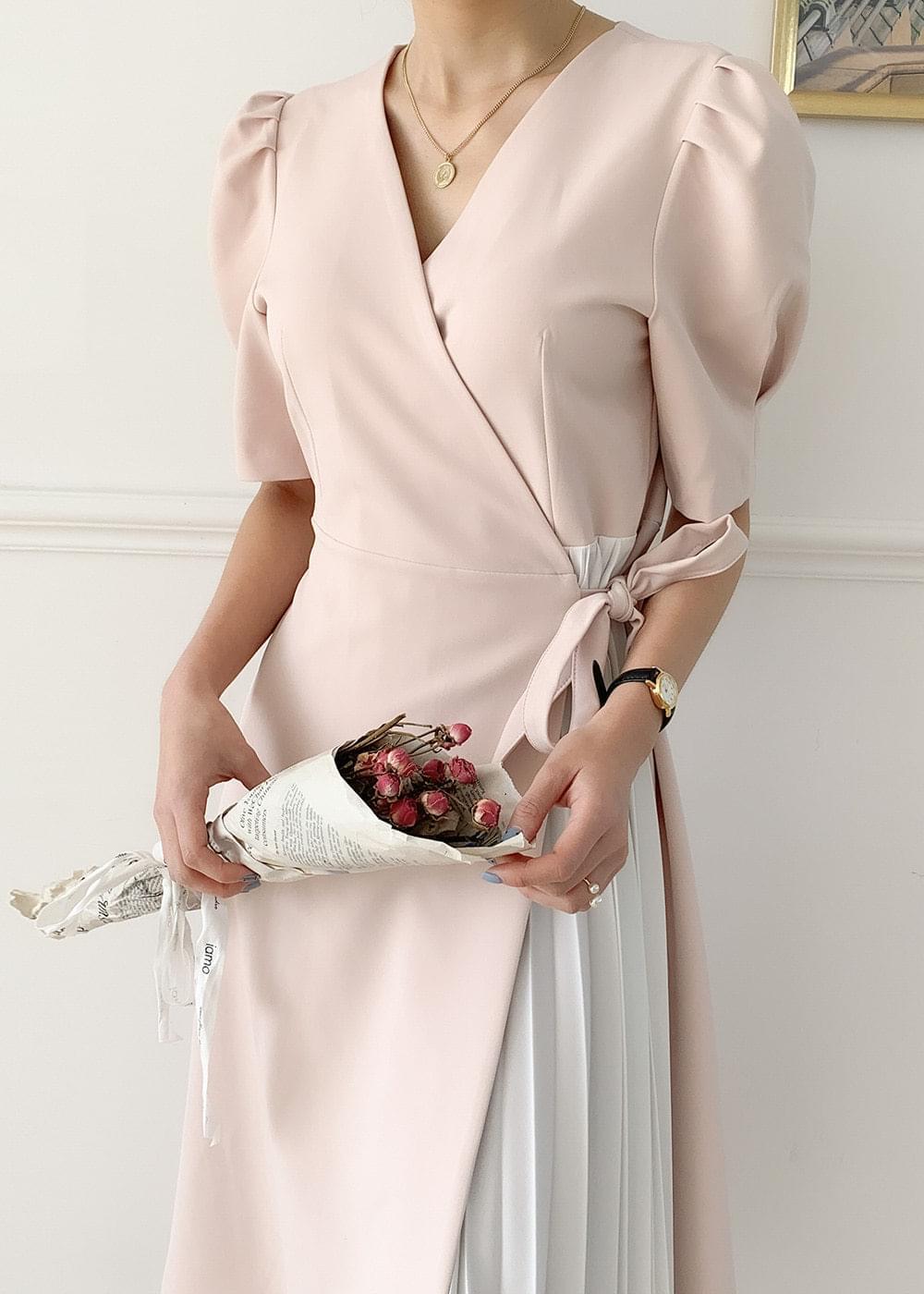 Wrap wrinkle fine beauty short sleeve dress