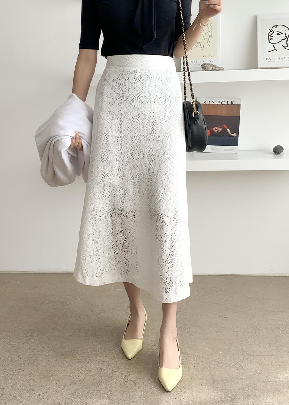 High-end lace flare banding skirt