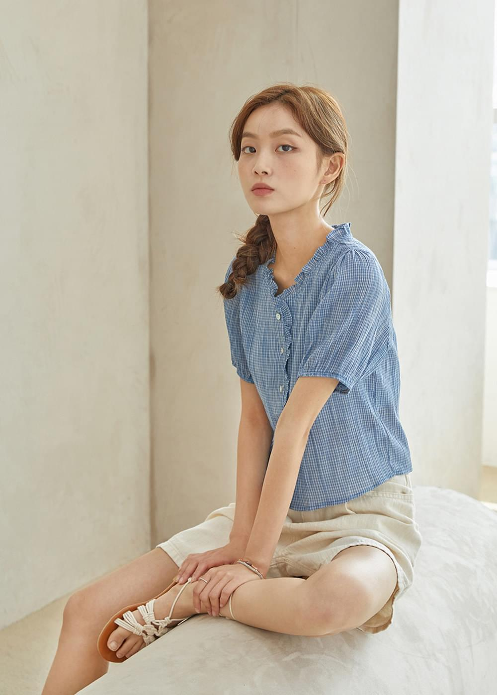 Billy check blouse