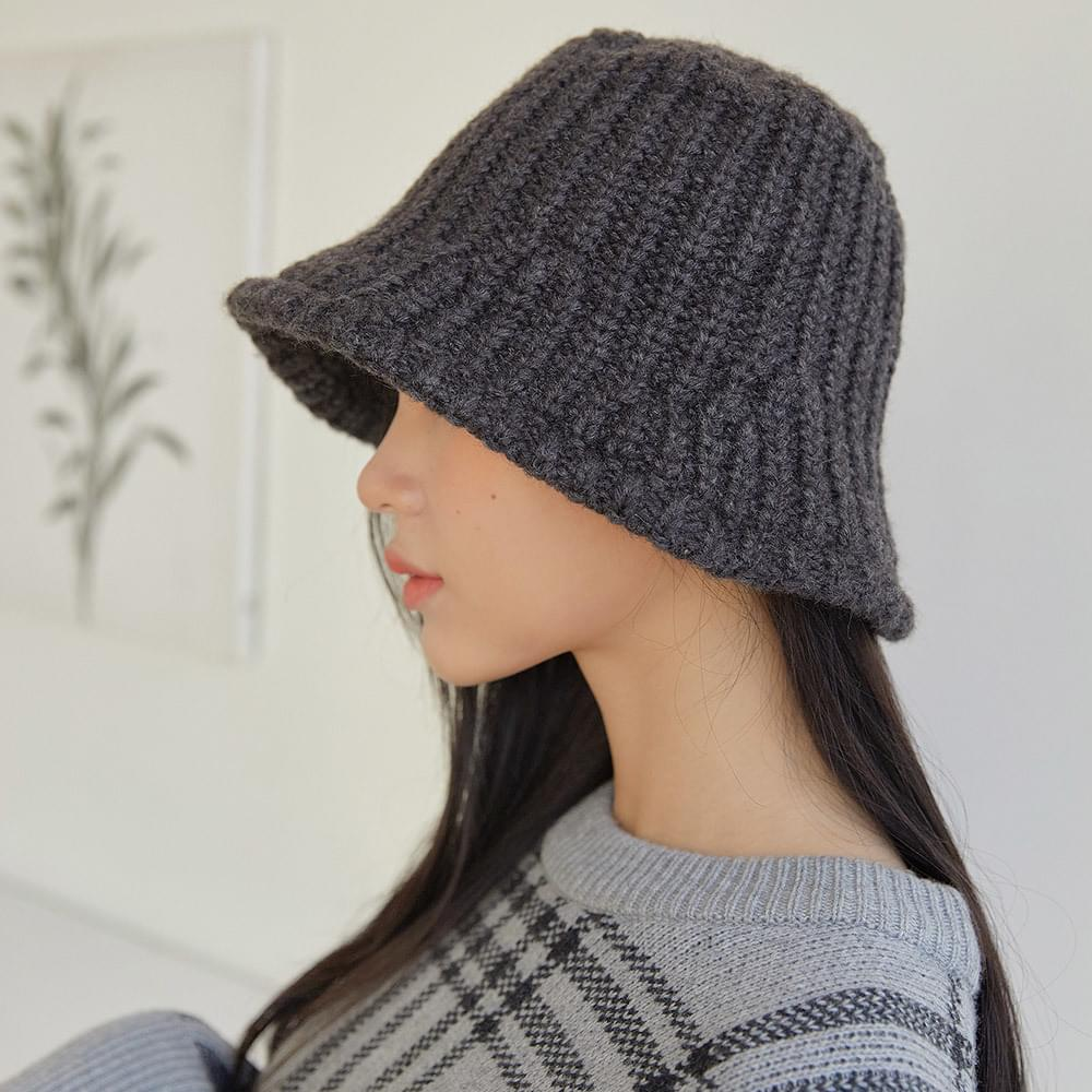 Ribbed Knitwear Bucket Hat