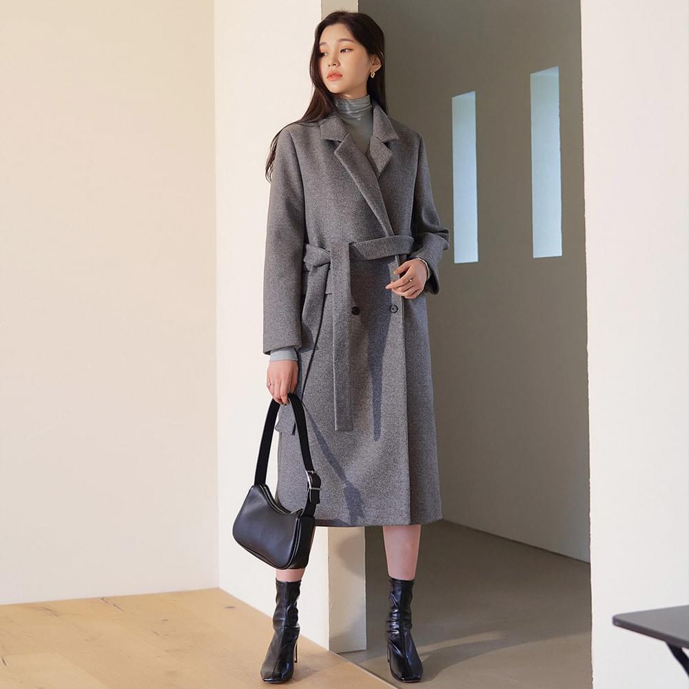 Cashmere double strap coat
