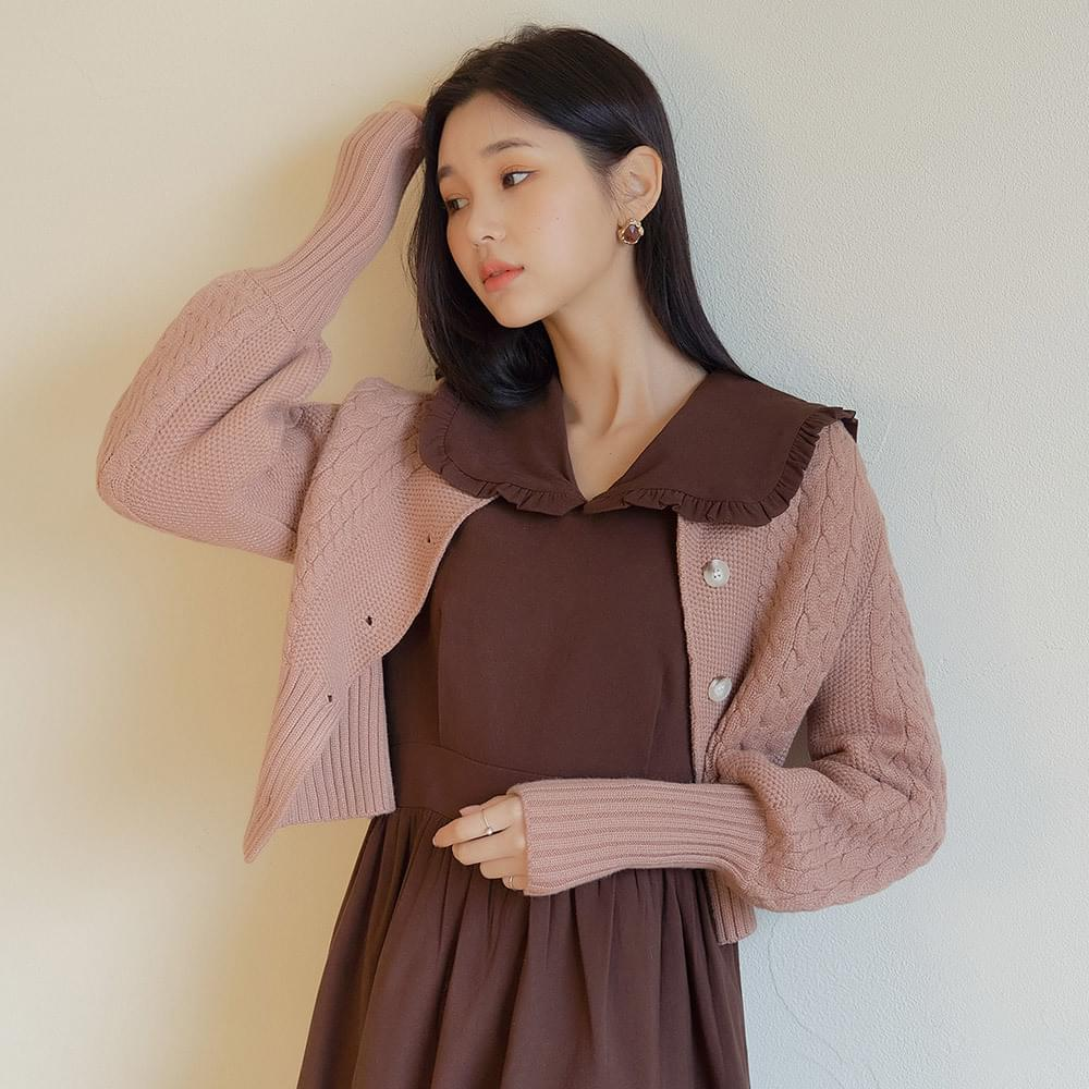 Puff cropped cable cardigan