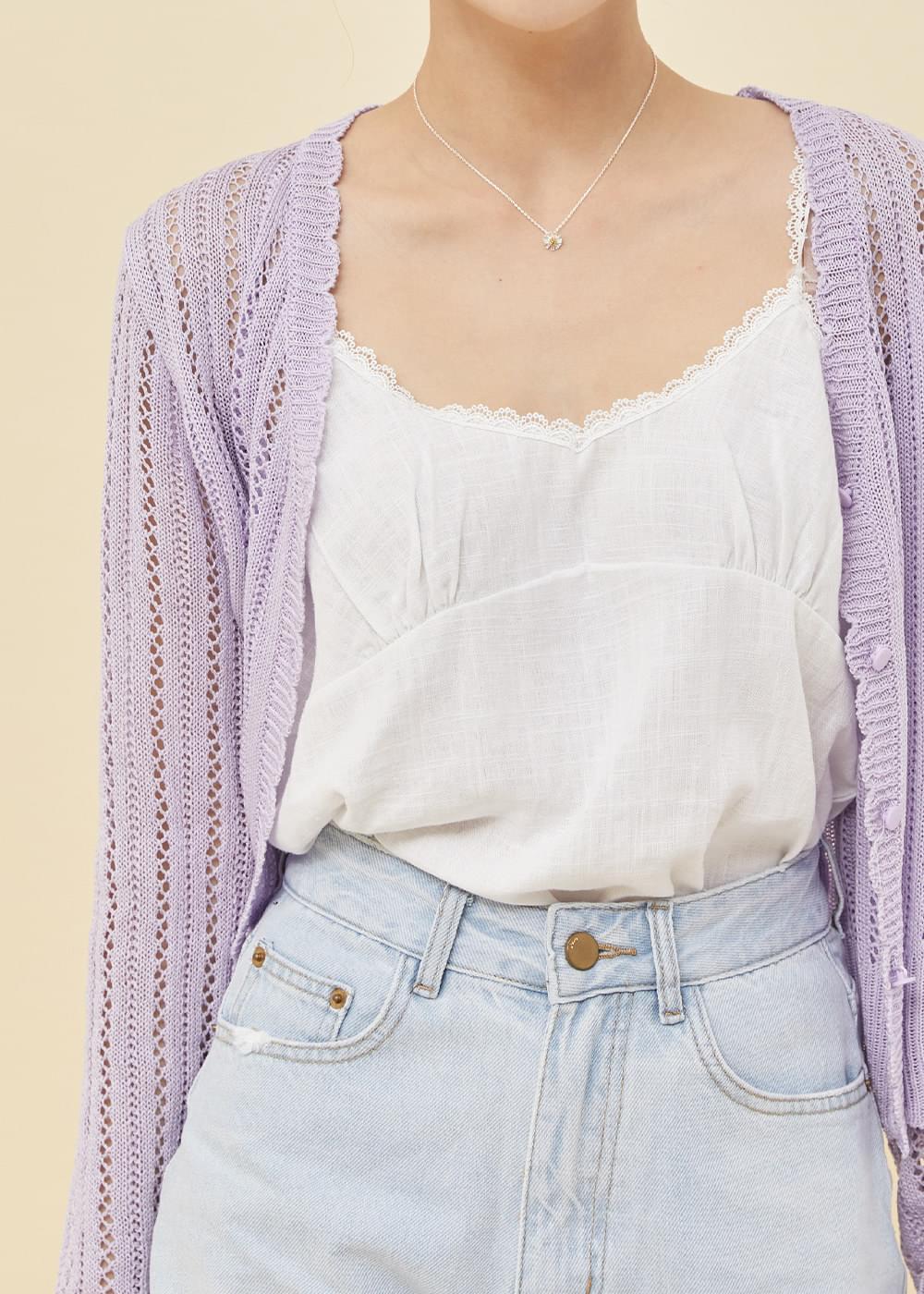 Lace linen sleeveless
