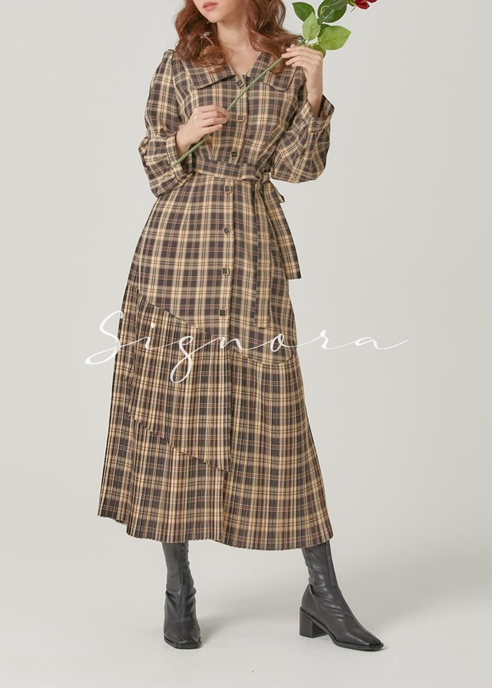 Signora Audrey Check Long Dress