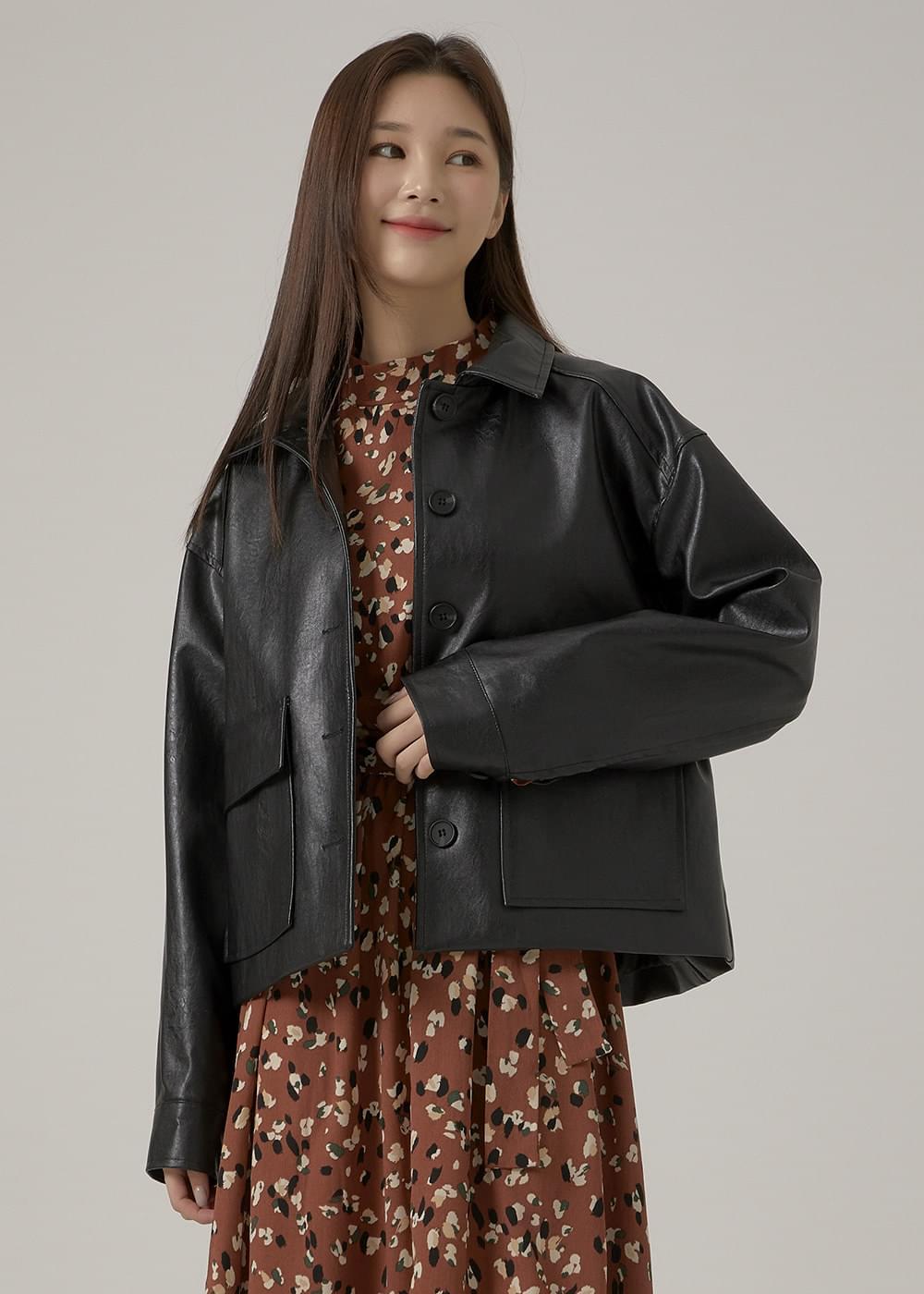 Mini Big Pocket Leather Jacket