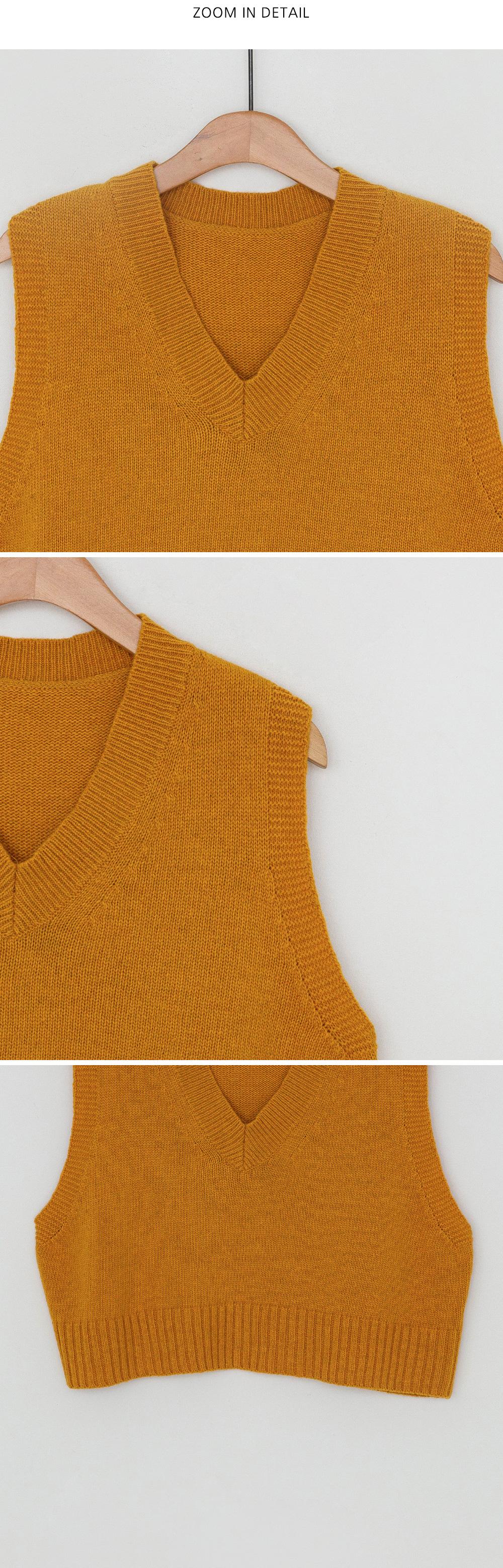 V-neck wool cropped vest