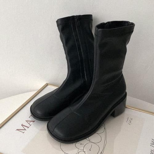 韓國空運 - 方頭縫線側拉鍊中筒靴 靴子
