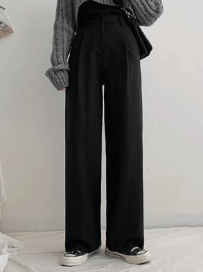 High Waist Pin Tuck Span Wide Slacks pants