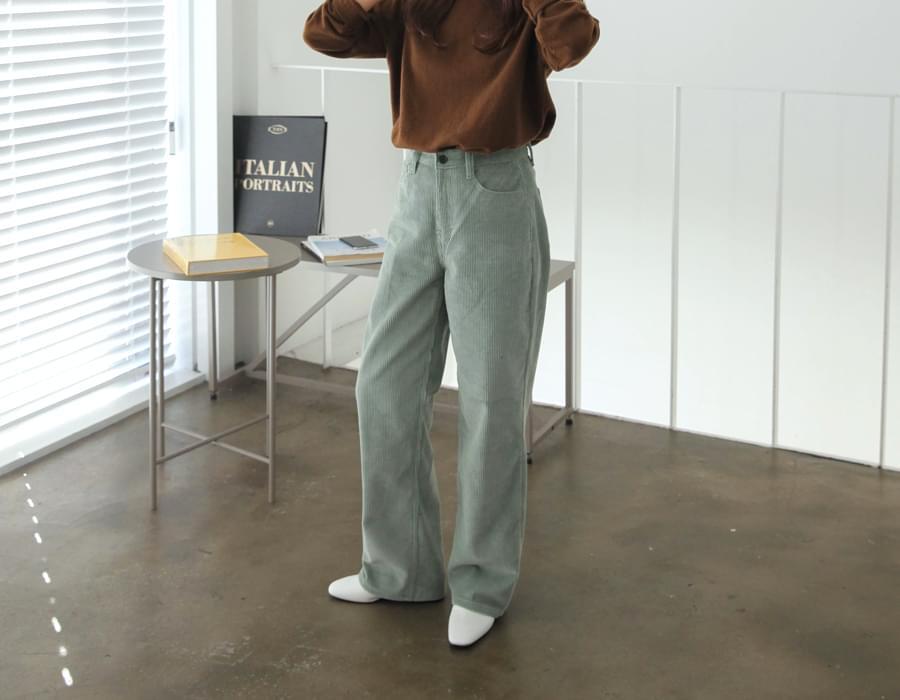 Named corduroy wide pants_C