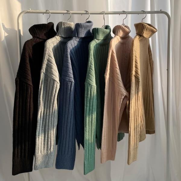 Sweet Ribbed Turtleneck Knitwear
