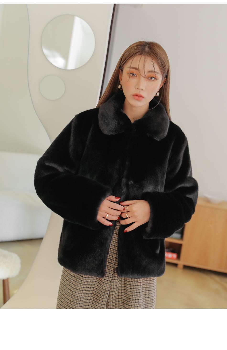 翻領仿皮草鉤釦外套