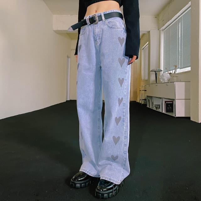 Heart denim wide pants