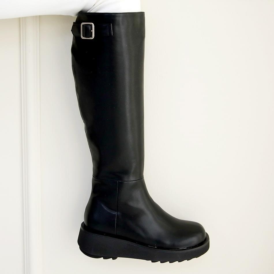 Heavy's heel wedge long boots 5cm