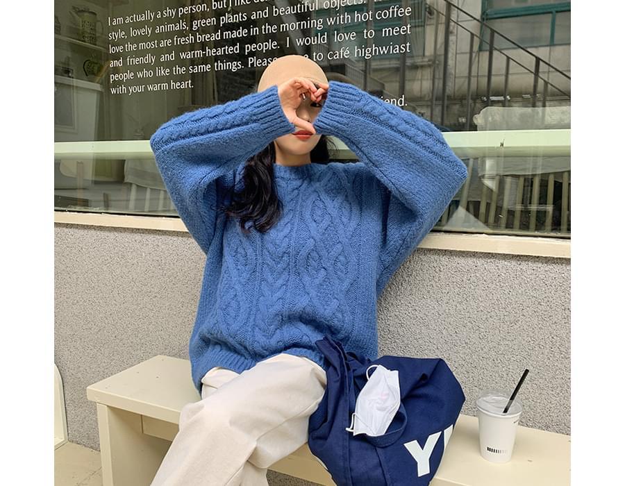麻花紋純色針織衫