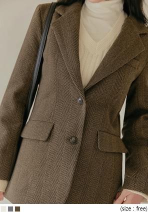 ヘリンボーン柄ウール混シングルジャケット
