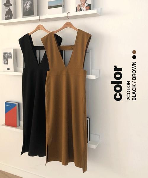 韓國空運 - Deep V Vijo Dress-2color 及膝洋裝