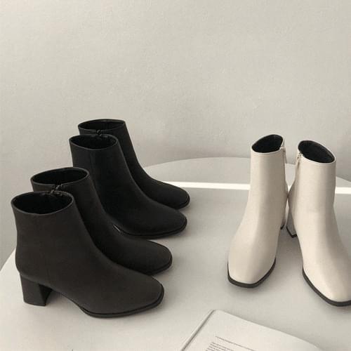 韓國空運 - 高跟仿皮側拉鍊中筒靴 靴子