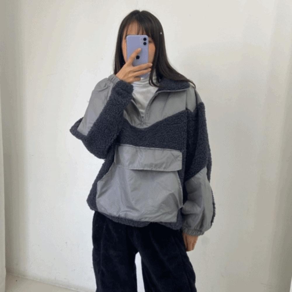 Dumble Color Wool Anorak Zip Up