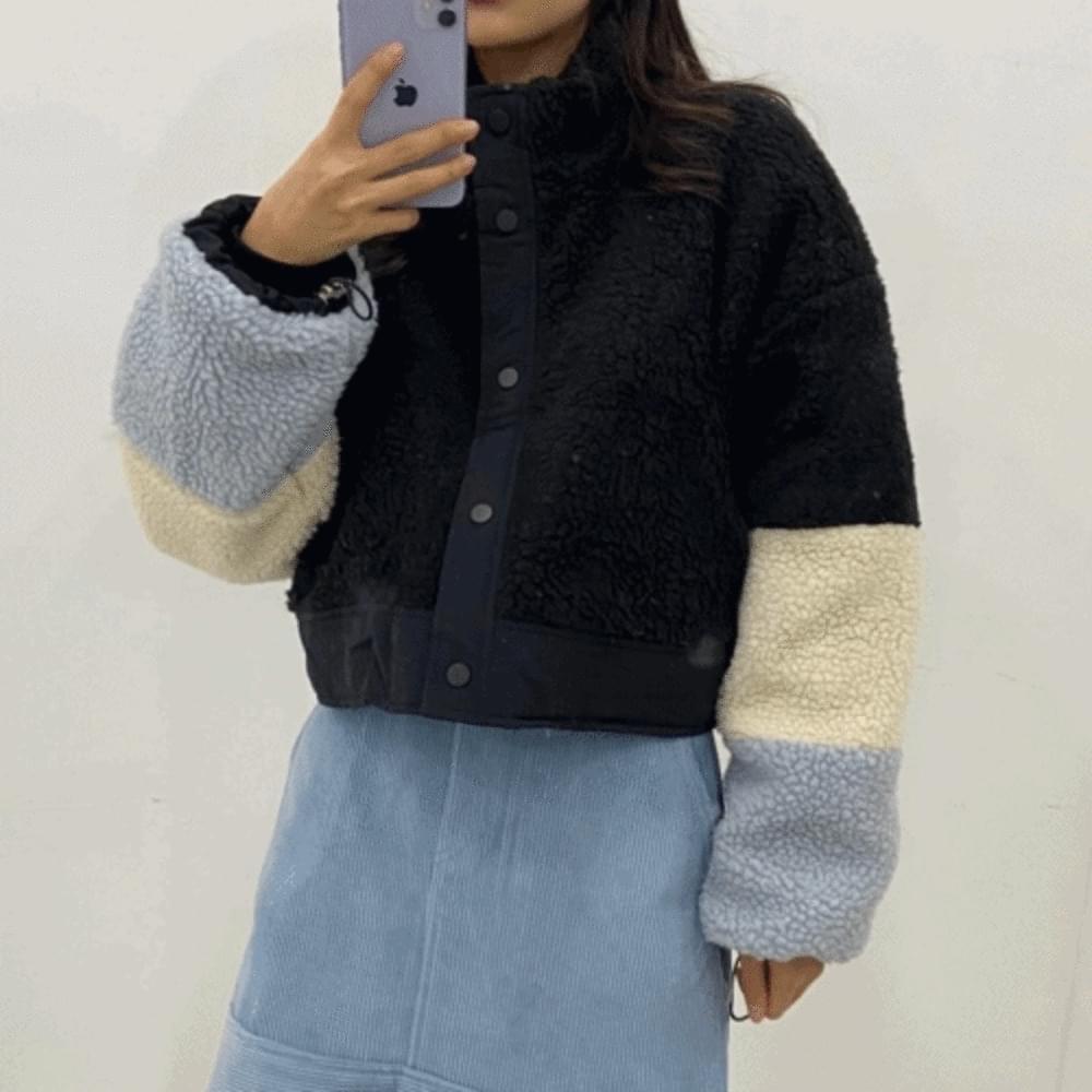 Wool Color Crop Dumble Jacket