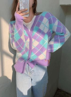 紫藍撞色菱格紋開襟衫