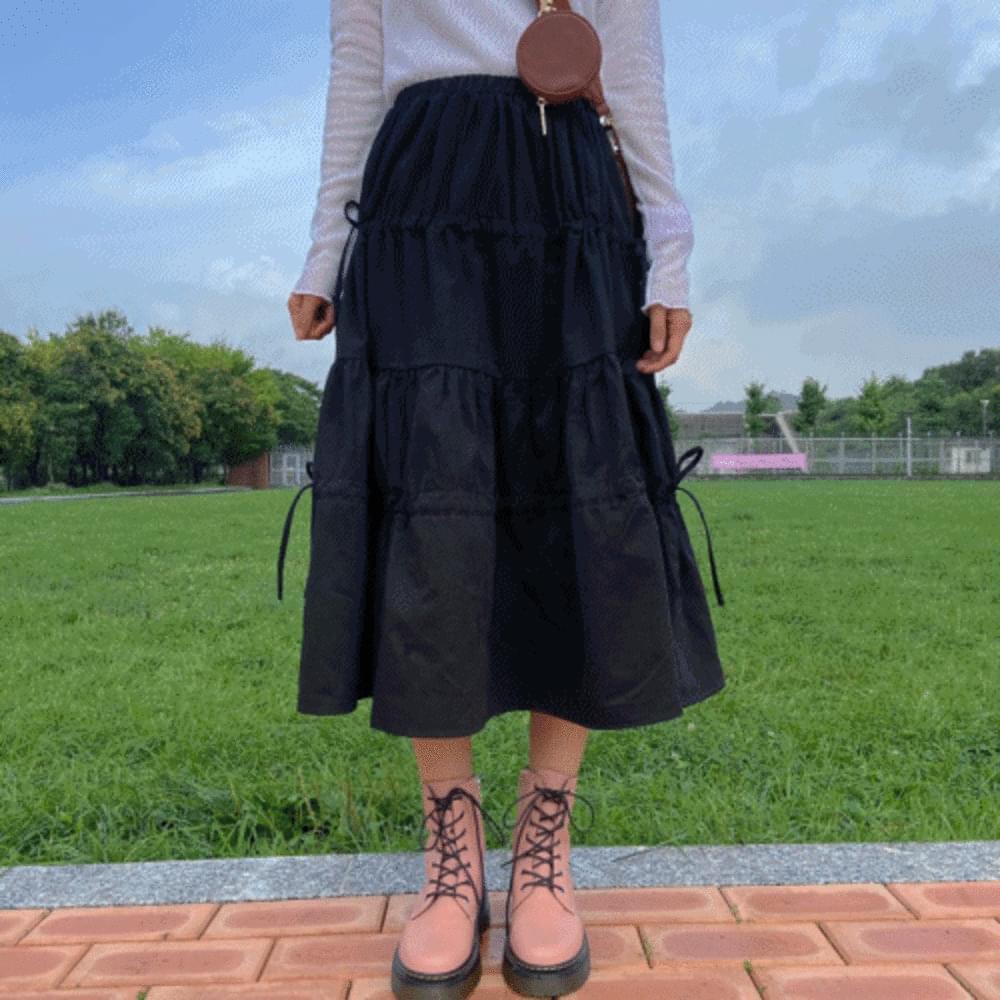 Autumn Ribbon Frill Cancan Long Skirt