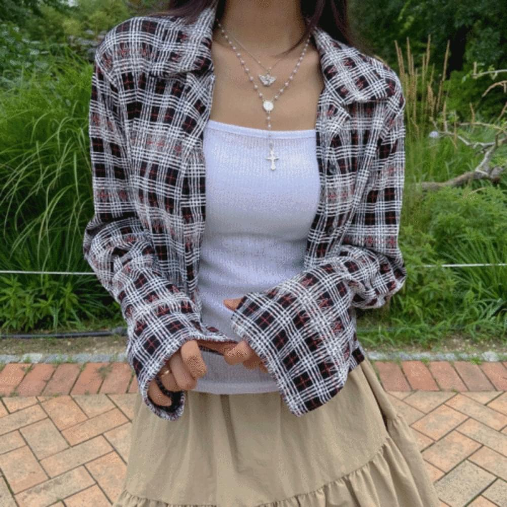 Checked crop southern shirt