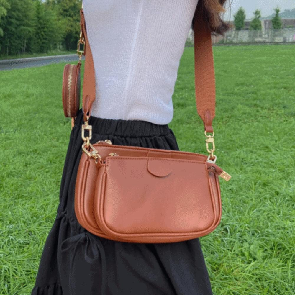 Leather square cross bag
