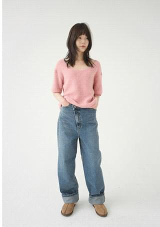 twisty natural denim pants