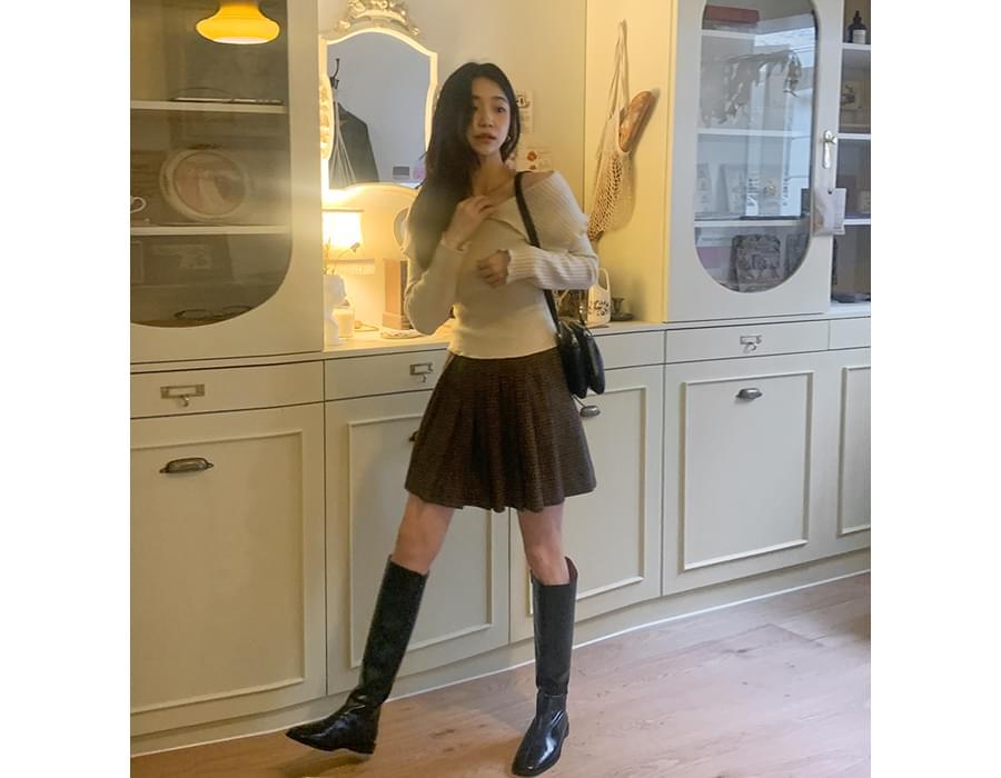 Color Mix Wool Pleated Mini Skirt
