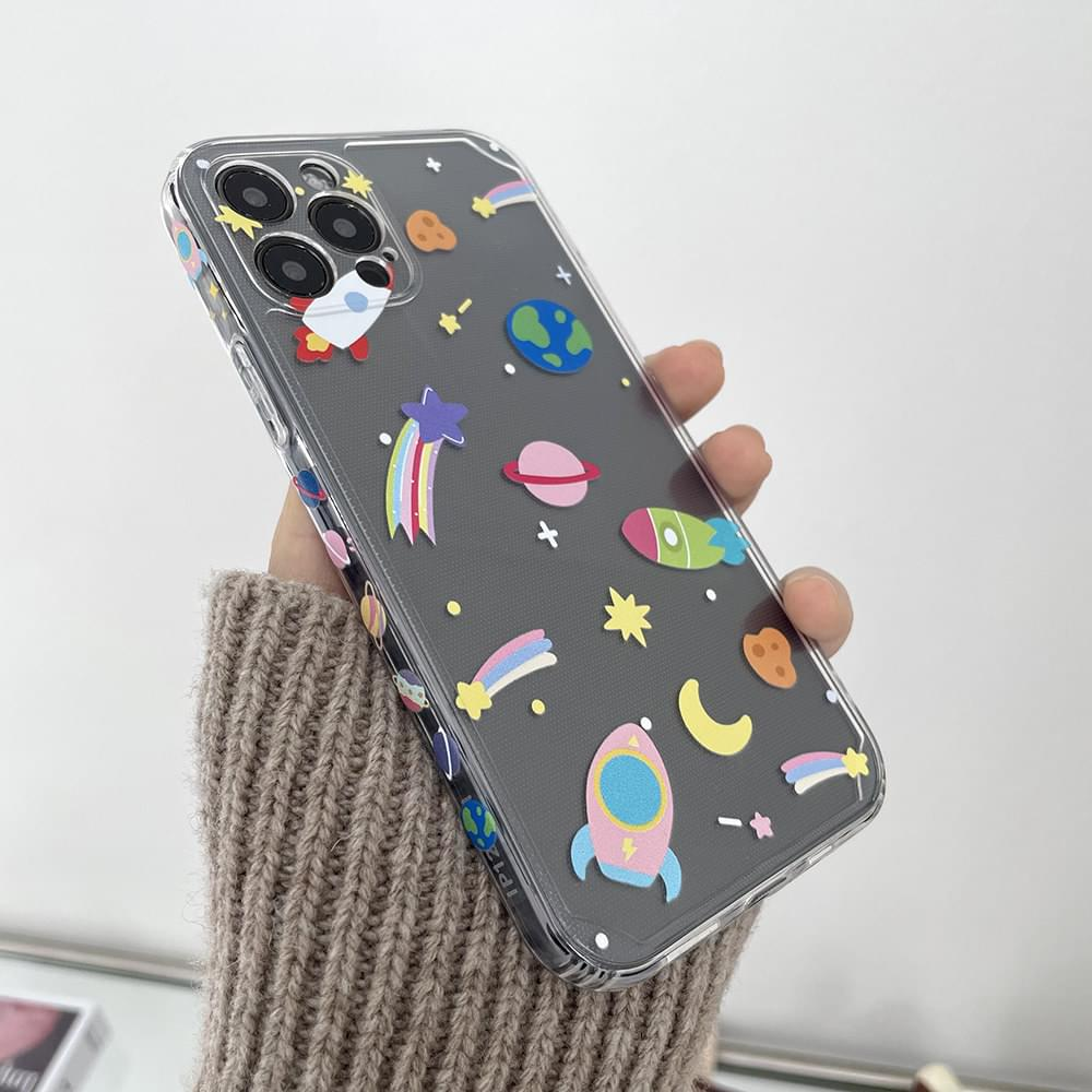 Space Rocket Pattern Full Cover iPhone Case 手機殼