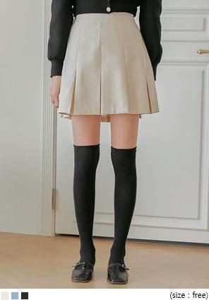 蜜桃絨壓褶微A字短裙