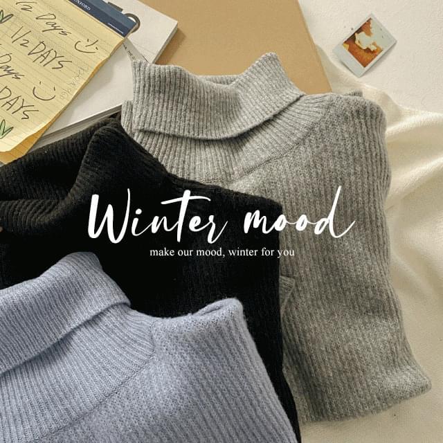 Soft Ribbed Turtleneck Knitwear