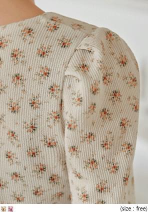 花朵圖案羅紋公主袖T恤