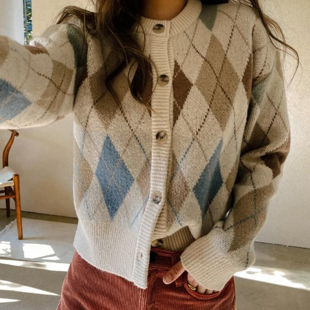 Connie Semi-Crop Argyle Cardigan (Delayed delivery)