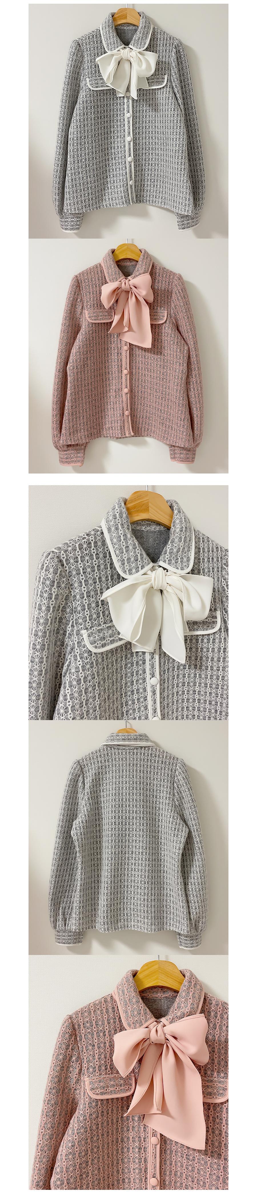 Freesia Ribbon Tie Blouse 2color