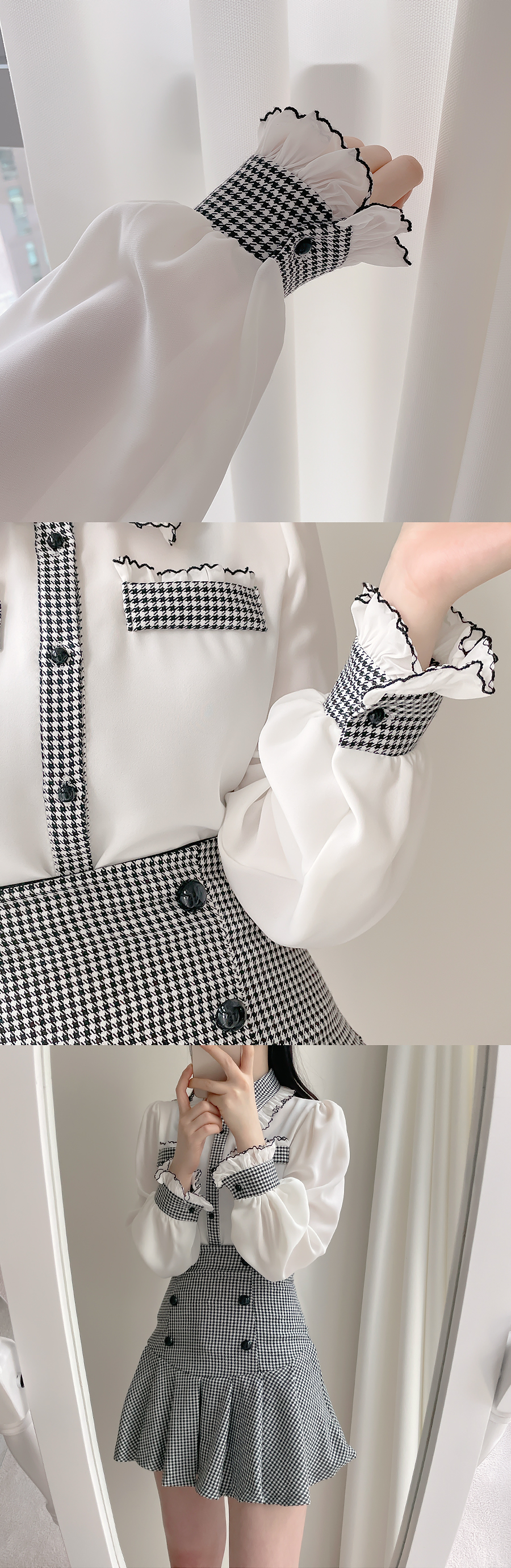 Luciel Hound Color Collar Blouse 2color
