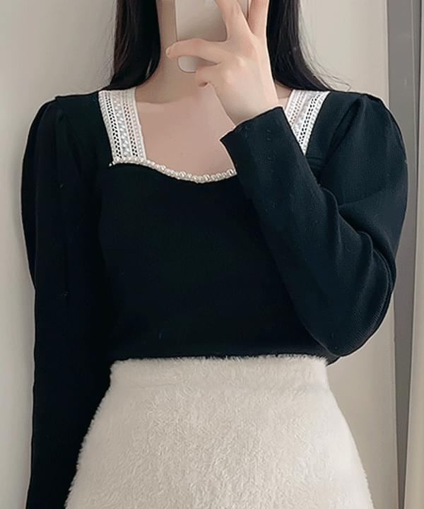 Westin Pearl Pearl Heart Neck Knit-one color 針織衫