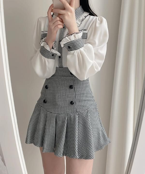 Luciel pleated double skirt pants 2color 裙子