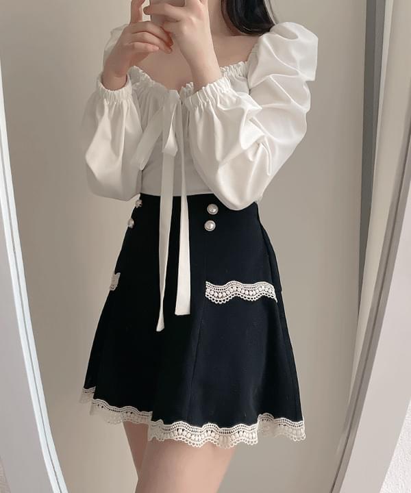 Cozy Lace Skirt Pants-One Color (人氣商品配送延遲) 裙子
