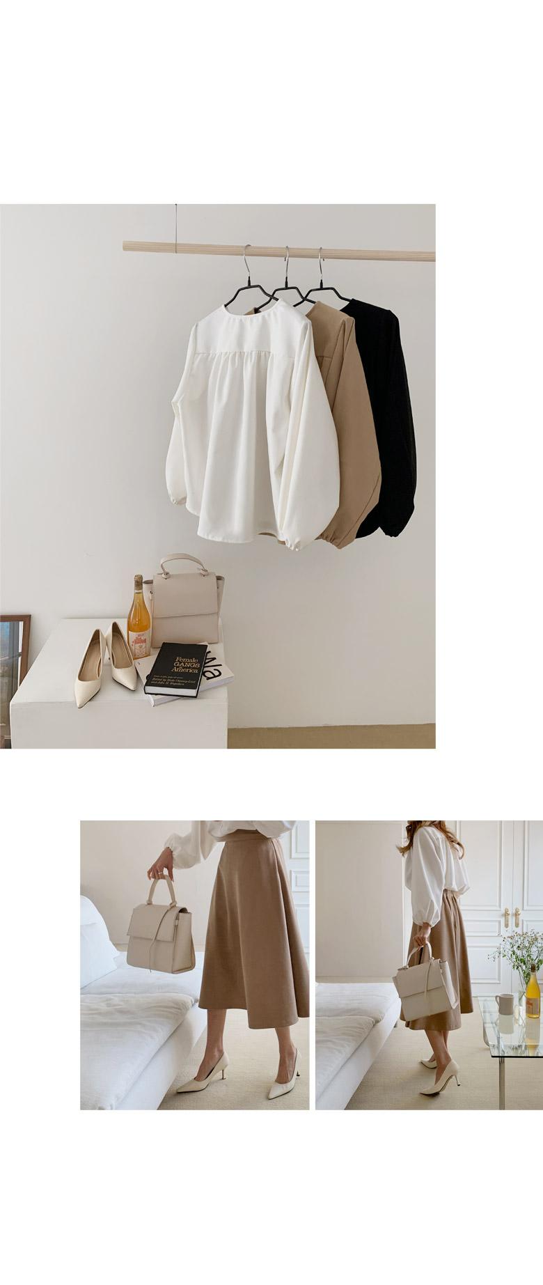 燈籠袖褶皺拉絨兩穿女衫