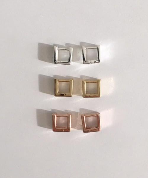 (silver925) square onetouch earring