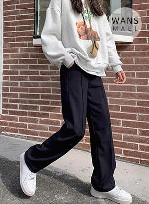 抓線休閒寬版長褲