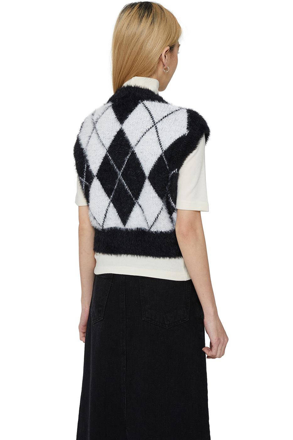 黑白菱格紋短版針織背心