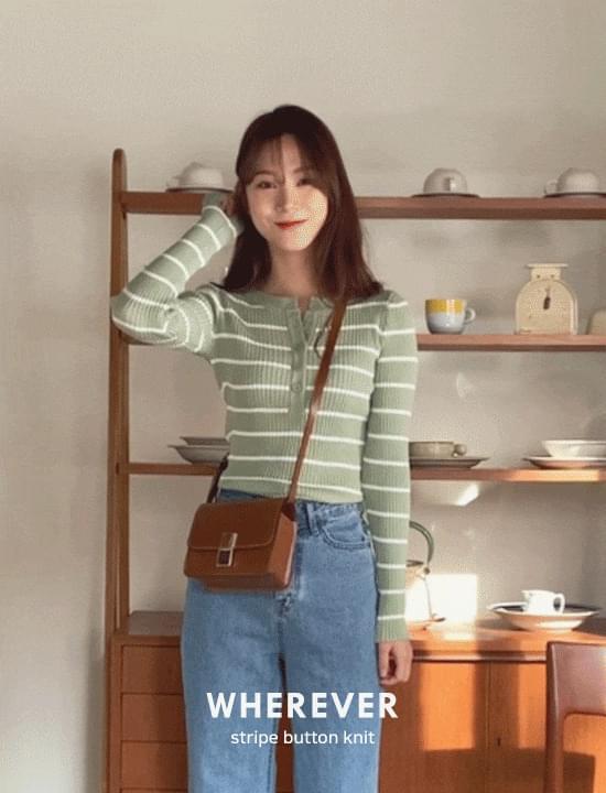 韓國空運 - Henry Neck Striped Knitwear 針織衫
