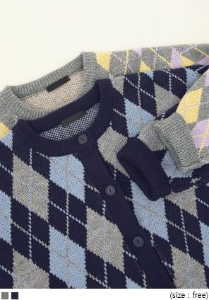 配色菱格紋圓領針織外套