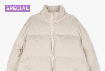 1 Beige Puffer Jacket 12 Styling : Vivid unisex padded jacket