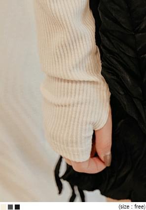 羅紋開衩設計套指袖T恤