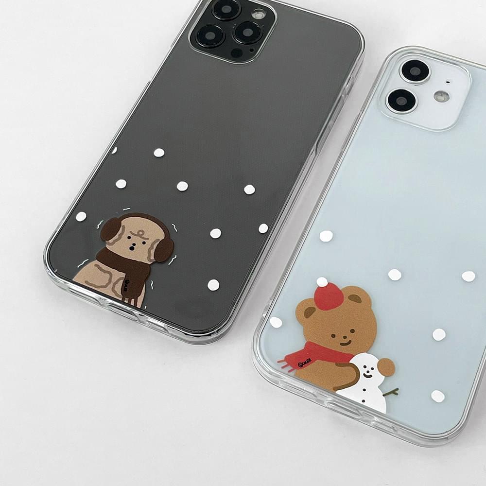 Snow Pattern Bear Poodle Transparent iPhone Case 手機殼