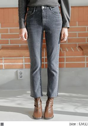高腰緊身不修邊直筒牛仔褲